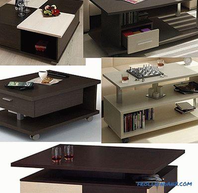 Tavolino da salotto fai-da-te: disegni e design